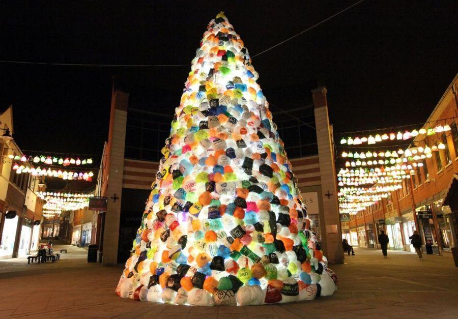 Arbol Navidad de bolsas de plástico