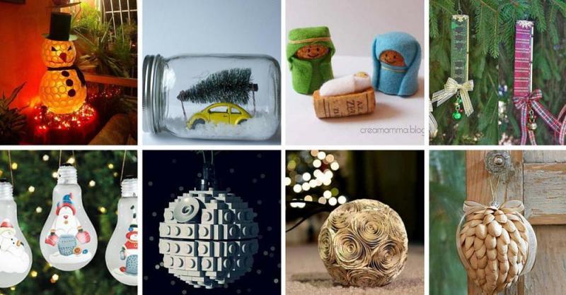 Adornos navideños con materiales reciclados